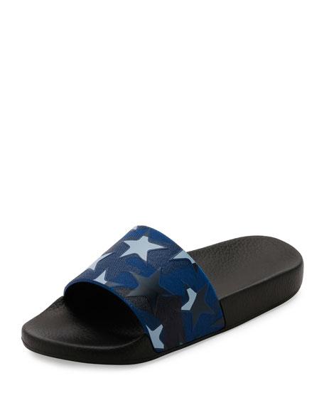 Valentino PVC Stars Rubber Slide Sandal, Black/Blue
