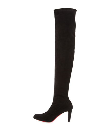 Alta Top Suede 70mm Over-the-Knee Red Sole Boot, Black