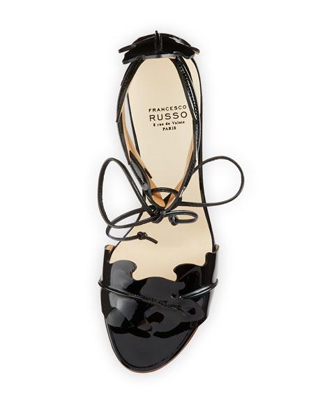 Leaf-Cut Leather Ankle-Tie Sandal