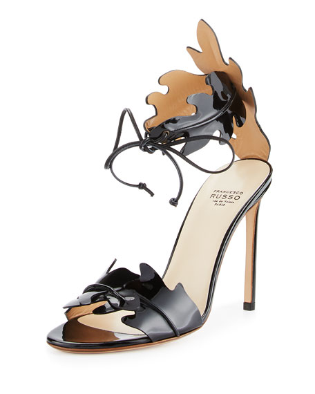 Leaf-Cut Leather Ankle-Tie Sandal