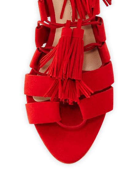 Luz Suede Tassel-Tie Sandal