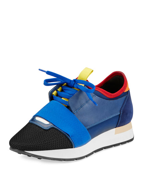 Mixed-Media Leather Lace-Up Sneaker, Variante Marine