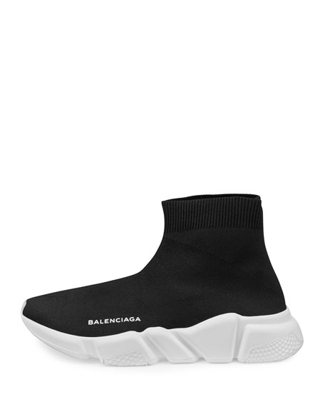 Stretch-Mesh High-Top Sneaker, Noir