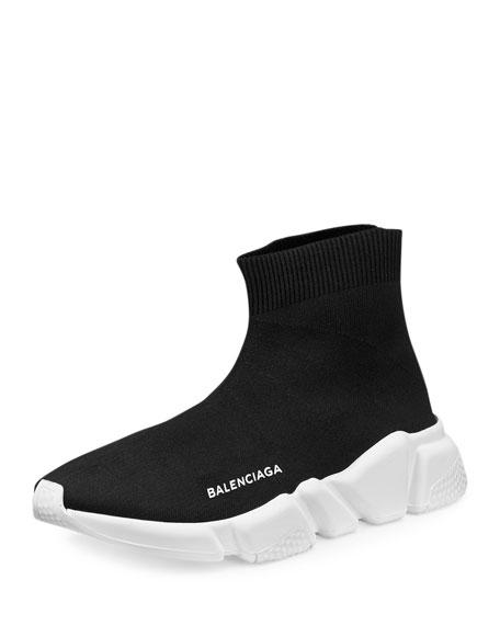 Stretch-Mesh High-Top Sneaker, Noir