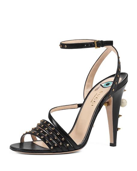 Wangy Jeweled Leather Sandal, Black