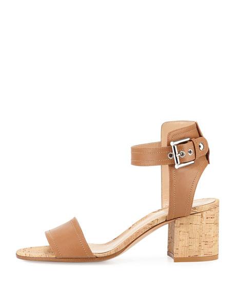 Leather Cork Block-Heel Sandal
