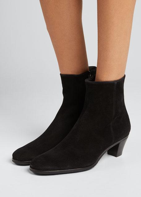 Suede Stack-Heel Ankle Bootie