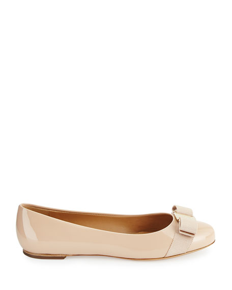 Varina Patent Leather Bow Flat, New Bisque