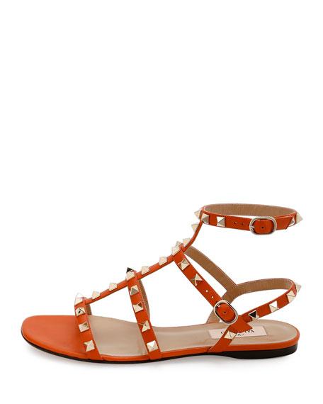 Rockstud Leather Flat Sandal