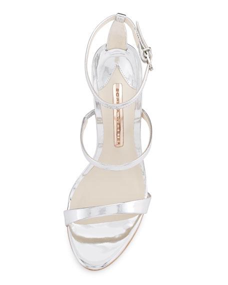 Rosalind Crystal-Heel Leather Sandals, Silver