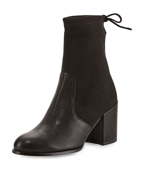 Stuart Weitzman Shorty Suede/Leather Chunky-Heel Bootie, Black