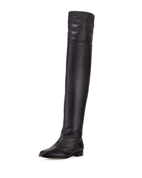 Jimmy Choo Mitty Grained Leather Tall Boot, Black
