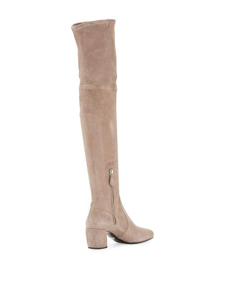 7616b16526f Prada Suede Metal-Heel Over-The-Knee Boot