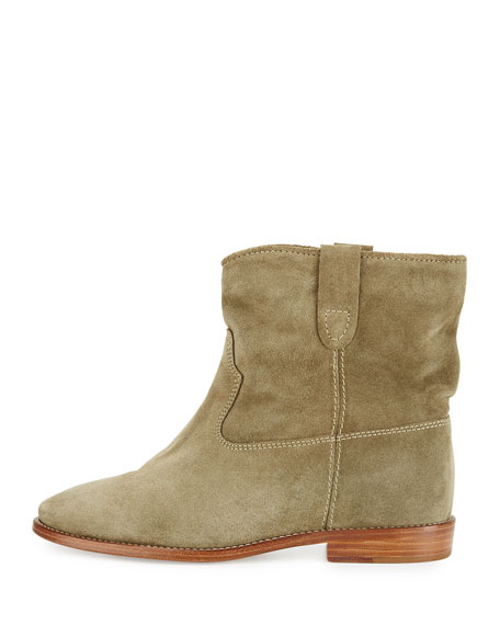 Crisi Western Suede Flat Bootie