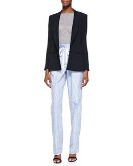 Side Vent Shawl Collar Blazer, Long-Sleeve Crewneck Top & Striped Paperbag-Waist Pants