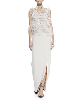 Sleeveless Ostrich Feather Blouse & Silk Crepe Maxi Skirt with Attached Belt