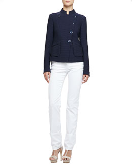 Asymmetric Geometric Jacquard Jacket, Stretch Jersey Tank & Brushed Cotton 5-Pocket Slim Fit Jeans