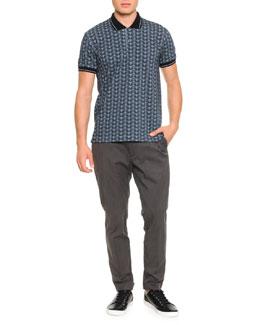 Short-Sleeve Polo W/ Owl Print & Gabardine Trousers