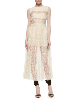 Sleeveless Lace-Inset Top & Double-Layer Lace Skirt