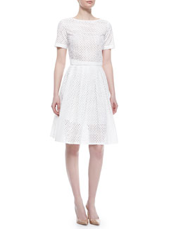 Mesh Short-Sleeve Crop Top & Mesh Pleated Full Skirt, White