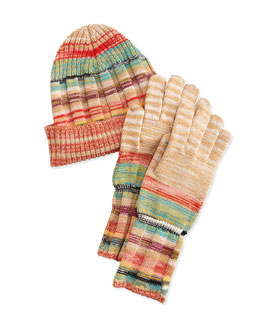 Striped Space-Dye Knit Hat & Gloves