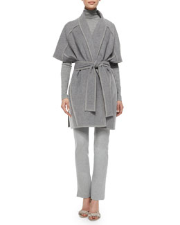 Double-Faced Cashmere Belted Coat, Cashmere Slub-Knit Turtleneck Top & Melange Jersey Structured Pants