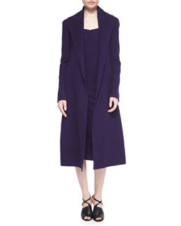 Double-Faced Cashmere Wrap Coat & Fluid Crepe Sheath Dress