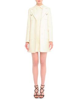 V-Pocket Double-Faced Coat & V-Pocket Crepe Shift Dress