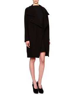 Asymmetric Wool-Blend Cocoon Coat & Godet-Pleated Fit-and-Flare Dress