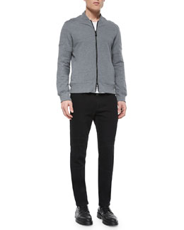 Deveron Moto Zip-Up Fleece Jacket & Eastham Coated Slim-Fit Moto Jeans