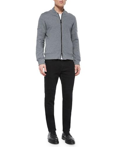 Deveron Moto Zip-Up Fleece Jacket & Eastham Coated Slim-Fit Moto Jeans
