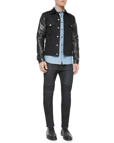 Stockfield Leather-Sleeve Denim Jacket, Lowry Chambray Long-Sleeve Shirt & Harpton Raw-Stretch Moto Jeans