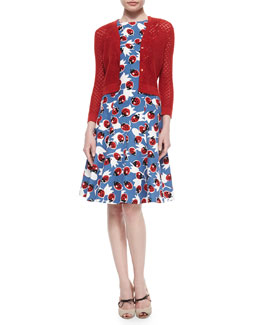 Diamond-Crochet Knit Cardigan & Lady Bug-Print Day Dress