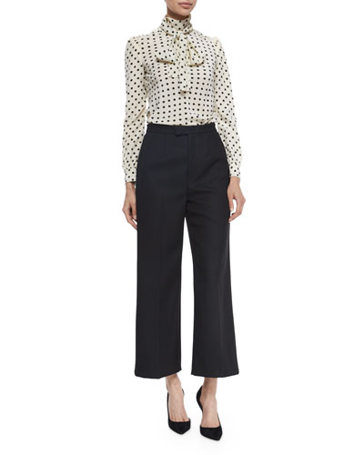 Polka-Dot Silk Crepe de Chine Blouse & High-Waist Cropped Wide Leg Pants
