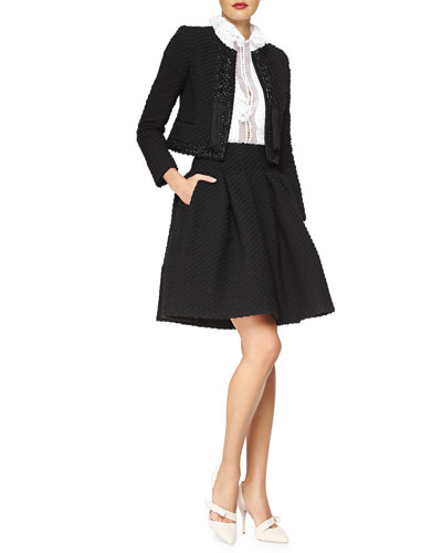 Beaded Stretch Boucle Jacket & Box-Pleated Boucle Skirt