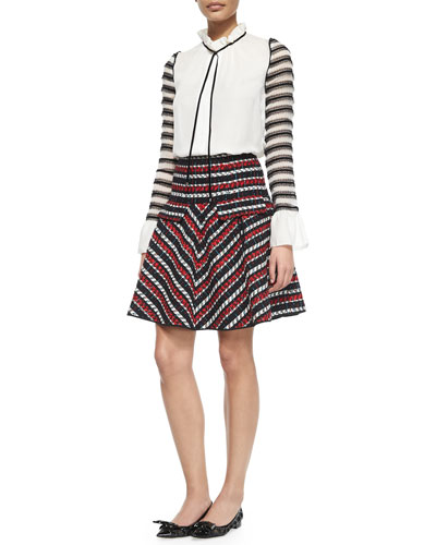 Ruffled Tie-Neck Lace-Striped Blouse & Striped A-Line Skirt