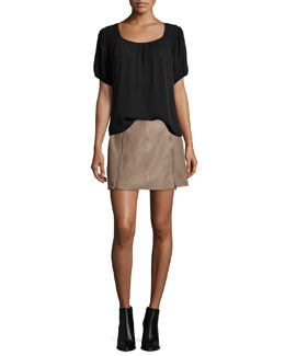 Lea Top W/Embroidered Shoulders & Loula Double-Zip Mini Skirt