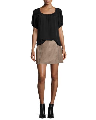 Lea Top W/Embroidered Shoulders & Loula Double-Zip Mini Skirt