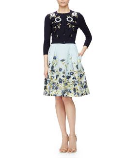 Floral-Embroidered Short Cardigan & Flower Fil Coupe Party Skirt