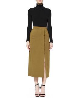Milo Merino Turtleneck & Dean Crepe A-Line Skirt