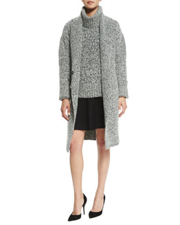 Fastrada Marled Long Cardigan, Wyndora Marbal Wool Sweater & Marvita B. Evian Skirt