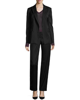 Scroll Blazer with Buttons, Marie Metallic Knit V-Neck Top & Penelope Satin-Inset Pants