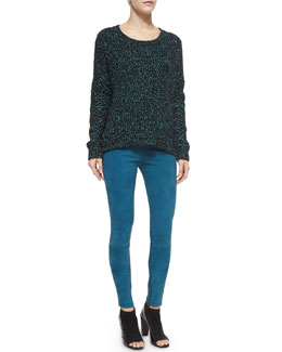 Long-Sleeve Boucle Sweater & Stretch-Suede Zipper-Cuff Leggings