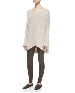 Mixed-Rib Knit Poncho Sweater & Skinny Leather Pants