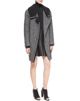 Shawl Collar Asymmetric-Zip Coat, Long-Sleeve Skinny-Rib Sweater & Pleated Leather Skirt, Black