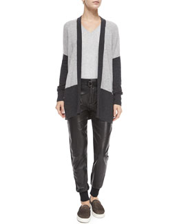 Colorblock Mixed-Knit Cardigan, Ribbed Knit V-Neck Sweater & Leather Belted Jogger Pants
