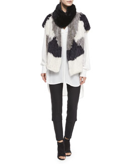 Colorblock Rabbit Fur Vest, Rabbit Fur Infinity Scarf & Leather-Piped Slim-Fit Trousers