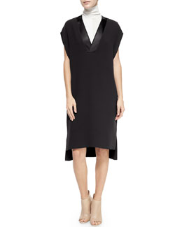 Satin-Trim V-Neck Dress & Laser-Cut Sleeveless Turtleneck Top