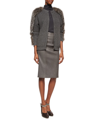 Fur-Trimmed Cashmere Ribbed Cardigan, Matte Silk Turtleneck Top & Seamed Leather Pencil Skirt