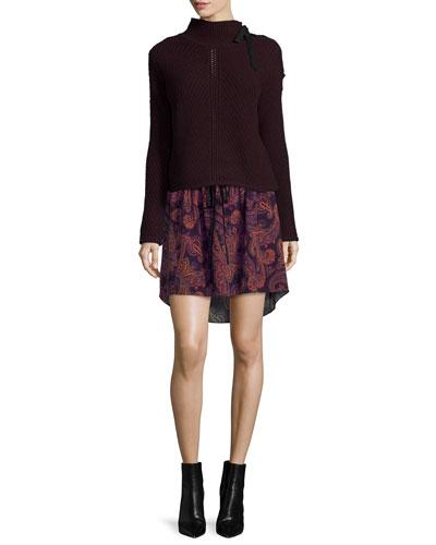 Auger Tie-Neck Sweater & Benson Boho Floral Maxi Dress